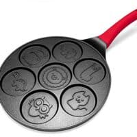 Pancake Maker - Non-stick Pancake Pan Griddle 10 Inch Grill Pan Mini Crepe Maker 7-Mold Pancakes with Silicon Handle, Black Animal