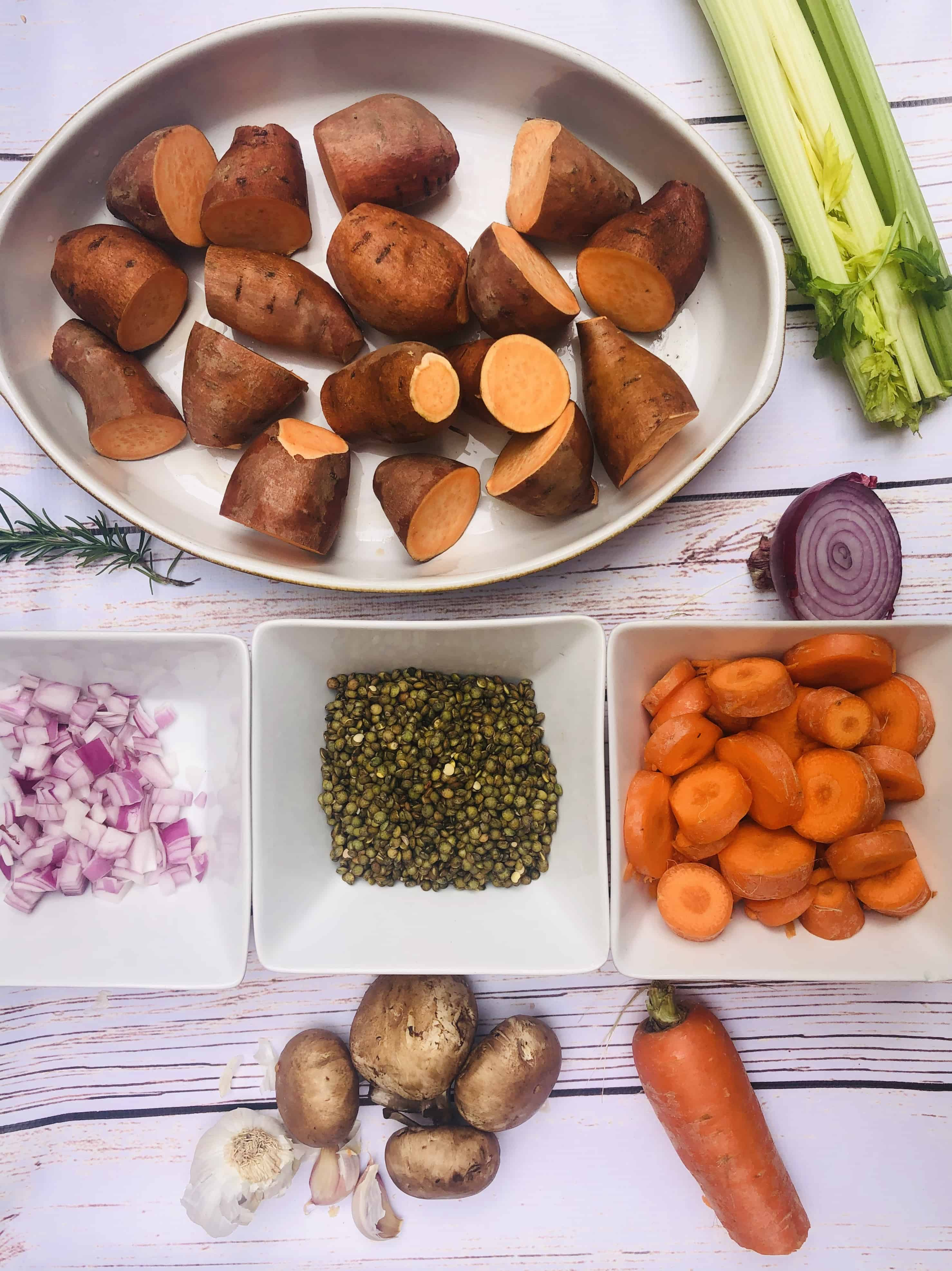 Vegan Lentil Bake Ingredients