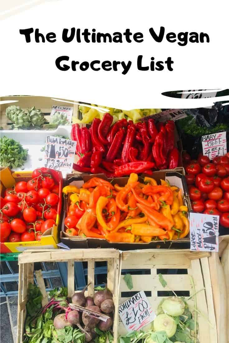 Vegan meal plan and Grocery List