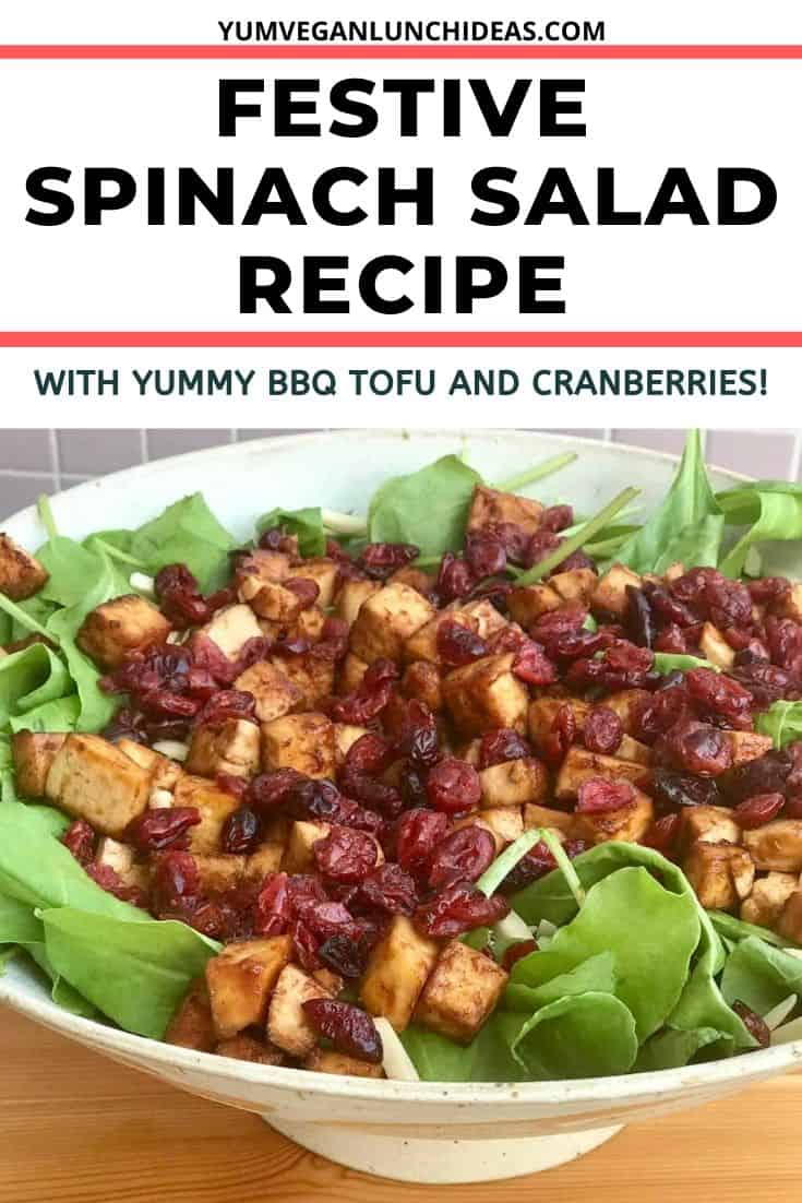 This delicious vegan spinach salad recipe uses baby spinach, cranberries, slivered almonds, and tofu for a fun new take on a classic spinach salad. Combined with our delicious salad dressing which is sweetened with date syrup, this vegan salad will bring new flavors to an old classic for an attention stealing dish. || Vegan Recipes || Vegetarian Recipes ||Tofu Recipes || #yumveganblog #tofu #spinach #spinachsalad #vegansalads #vegan #veganrecipes