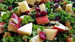 Kale salad with apples and cranberries + tahini dressing