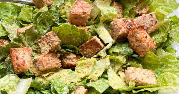 Crowd Pleasing Vegan Caesar Salad Recipe