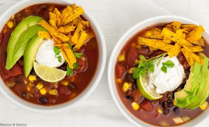Slow Cooker Vegan Chunky Texas Black Bean Soup - Flavour and Savour