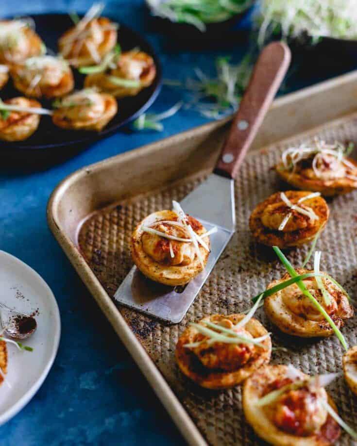 Spicy Hummus Stuffed Roasted Potato Bites