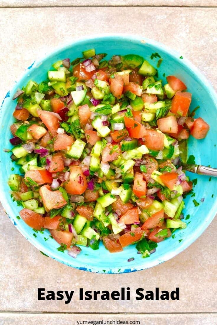 This easy Israeli salad recipe (also known as Jerusalem salad) uses simple, fresh ingredients to create an amazing side salad. With just a few minutes spent chopping you'll have a delicious salad, that is packed with health and nutrition and falls within almost every diet. It's naturally vegan, vegetarian, plant based, low carb, paleo, keto, and just generally good for you. It's even kid-approved! | Vegan Salad Recipes | #yumveganblog #israelisalad #jerusalemsalad #vegansalads #salad
