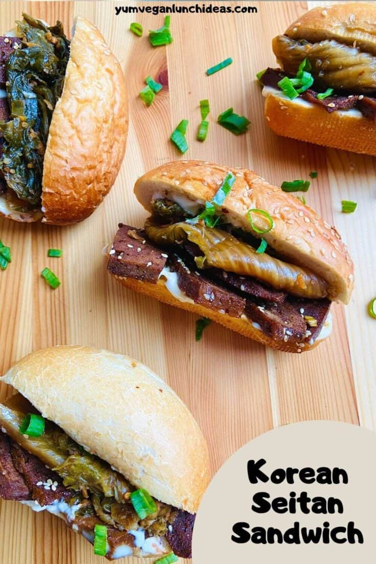This Korean Seitan sandwich is packed with flavor! From the delicious combo of tastes in the seitan marinade, to the spicy kimchi, and delicious crusty bread, this is one vegan sandwich recipe you are not going to want to miss. These seitan sandwiches can be made with homemade seitan or store bought. | Vegetarian Sandwich Recipe | Vegan Korean Recipes | seitan recipes | Recipes with seitan | #yumvegan #vegan #seitan #seitanrecipes #seitansandwich #vegansandwich