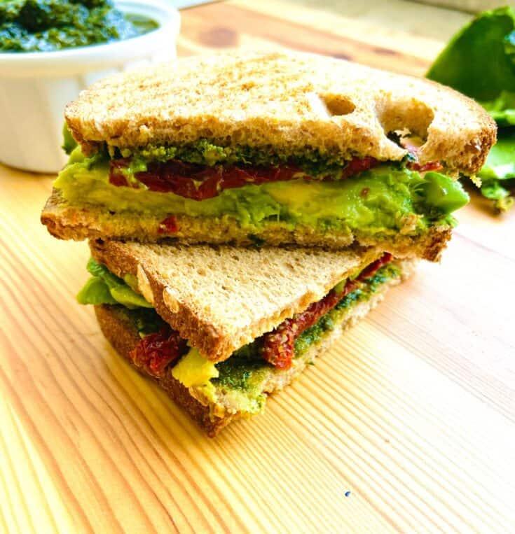 Vegan Avocado Sandwich with Pesto and Sun-Dried Tomatoes