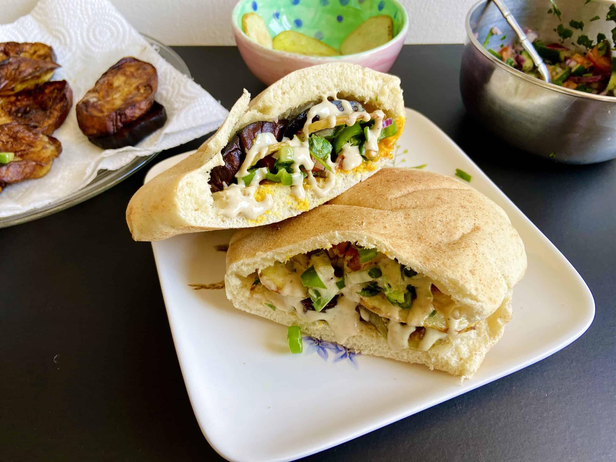 Vegan Eggplant Sandwich (Sabich)