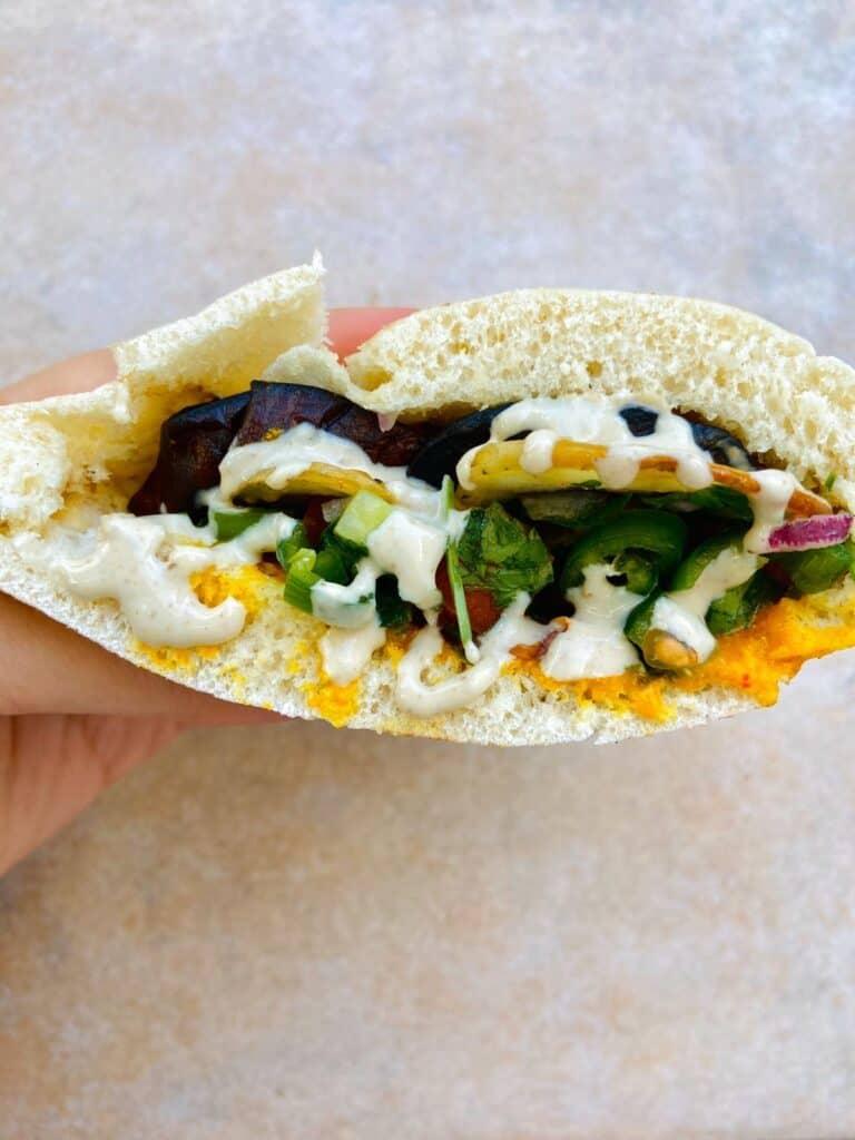 fried eggplant vegan sandwich