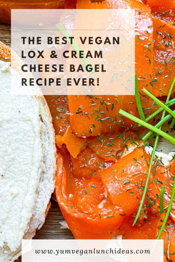 vegan bagel sandwich recipe with vegan lox and cashew cream cheese