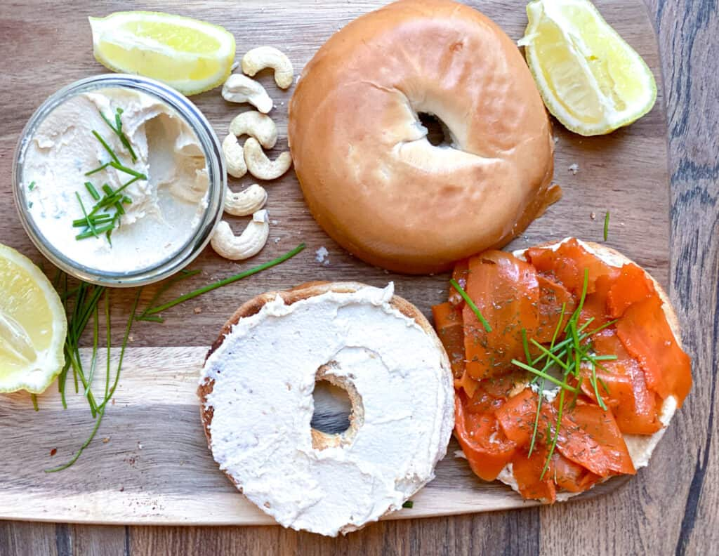 vegan lox with cream cheese bagel sandwich
