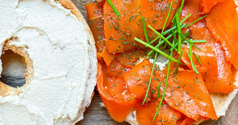 The Best Vegan Bagel Sandwich With Vegan Lox & Cashew Cream Cheese