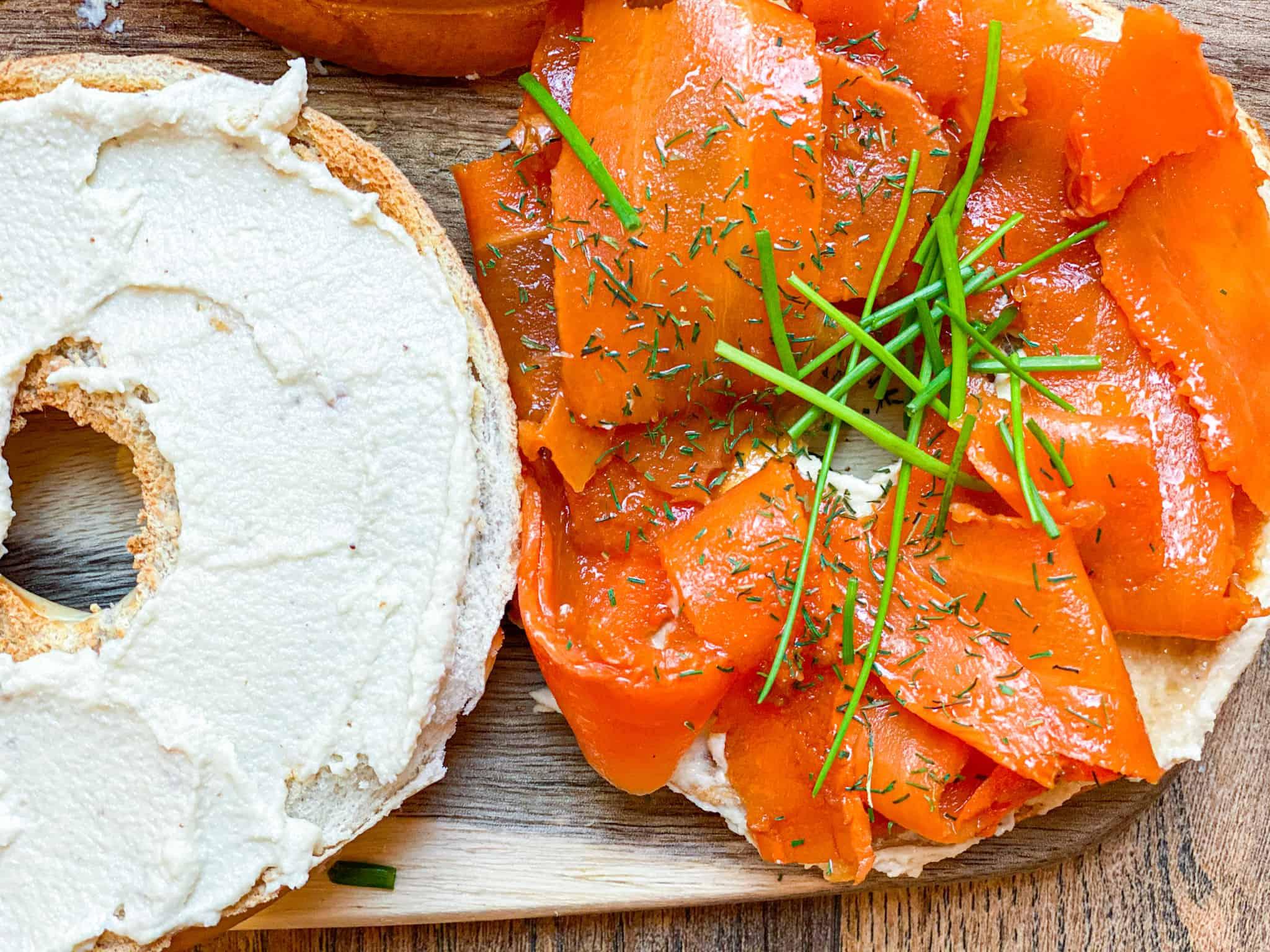 The Best Vegan Bagel Sandwich With Vegan Lox & Cashew Cream Cheese