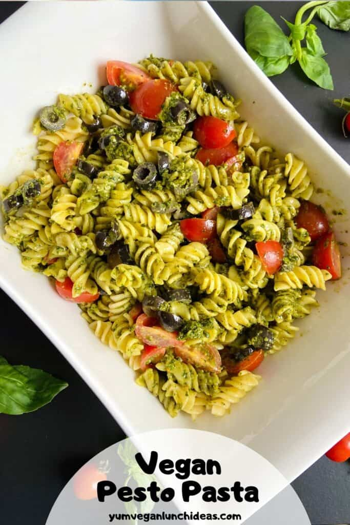 Vegan pesto pasta salad pin