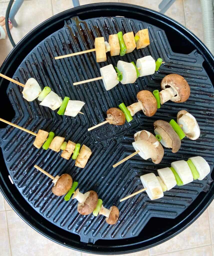 vegan yakitori on the grill
