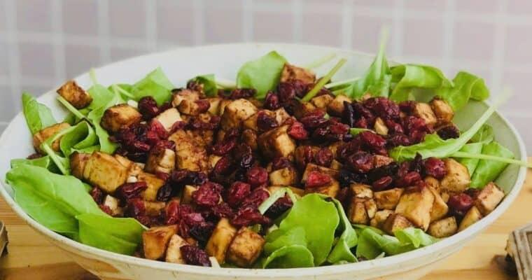Vegan Spinach Salad Recipe with BBQ Tofu