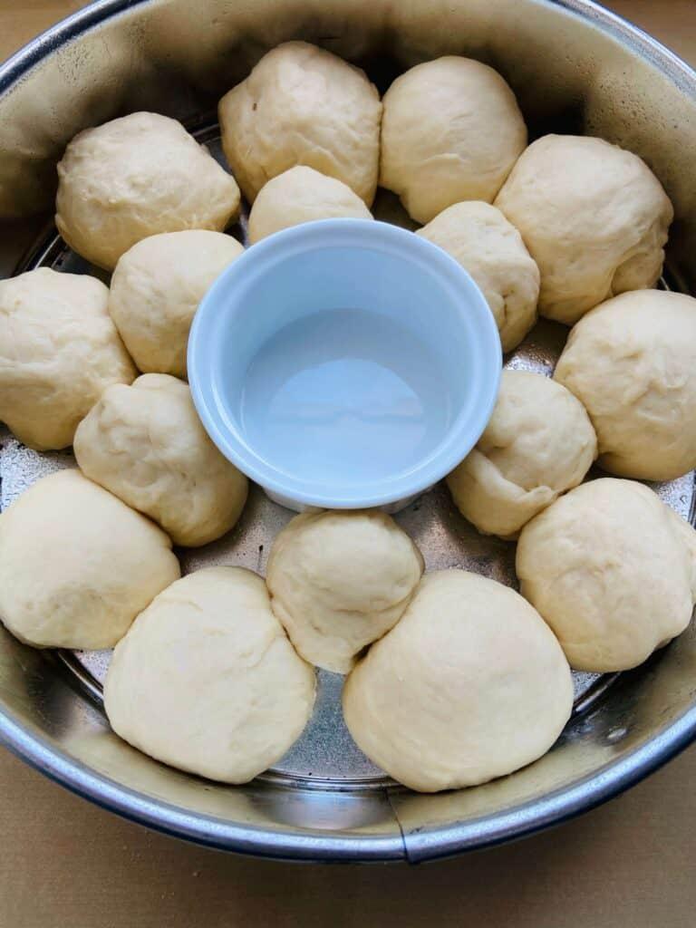 vegan dinner rolls before baking