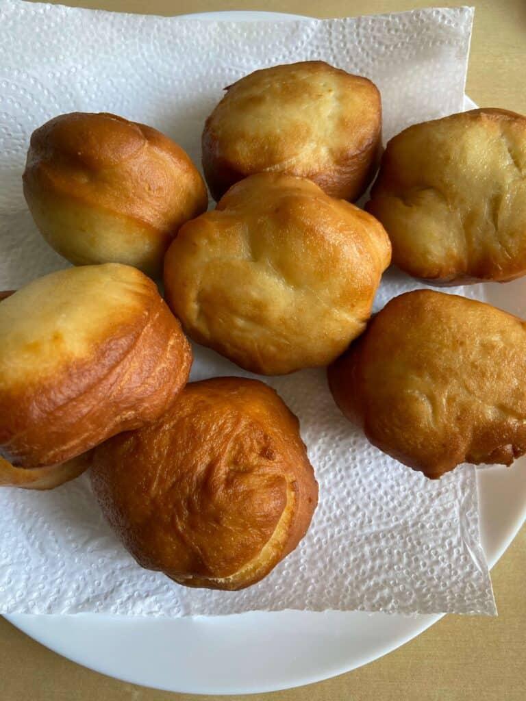 vegan jam doughnuts after frying