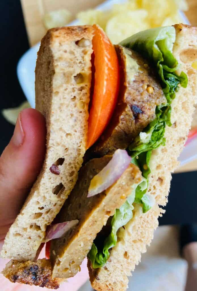 vegan salami sandwich