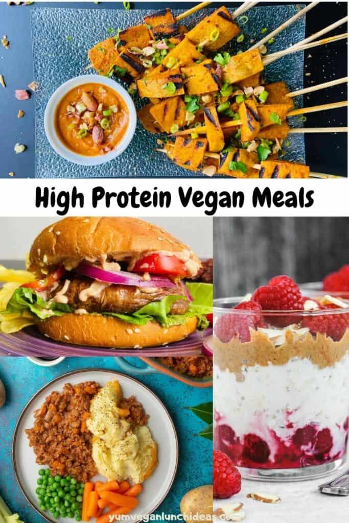 high protein vegan meals pin 2